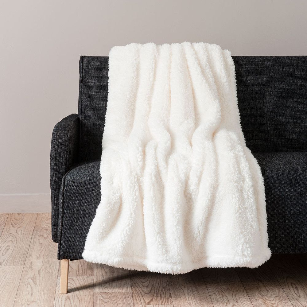 Maison Du Monde Plaid Ecru Faux Fur Blanket 150x200 Home Decor Faux Fur Blanket