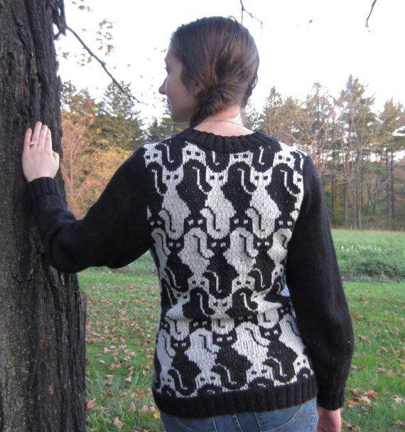 PDF Cat V Neck Knitting Pattern Instant Download | Knitting patterns ...