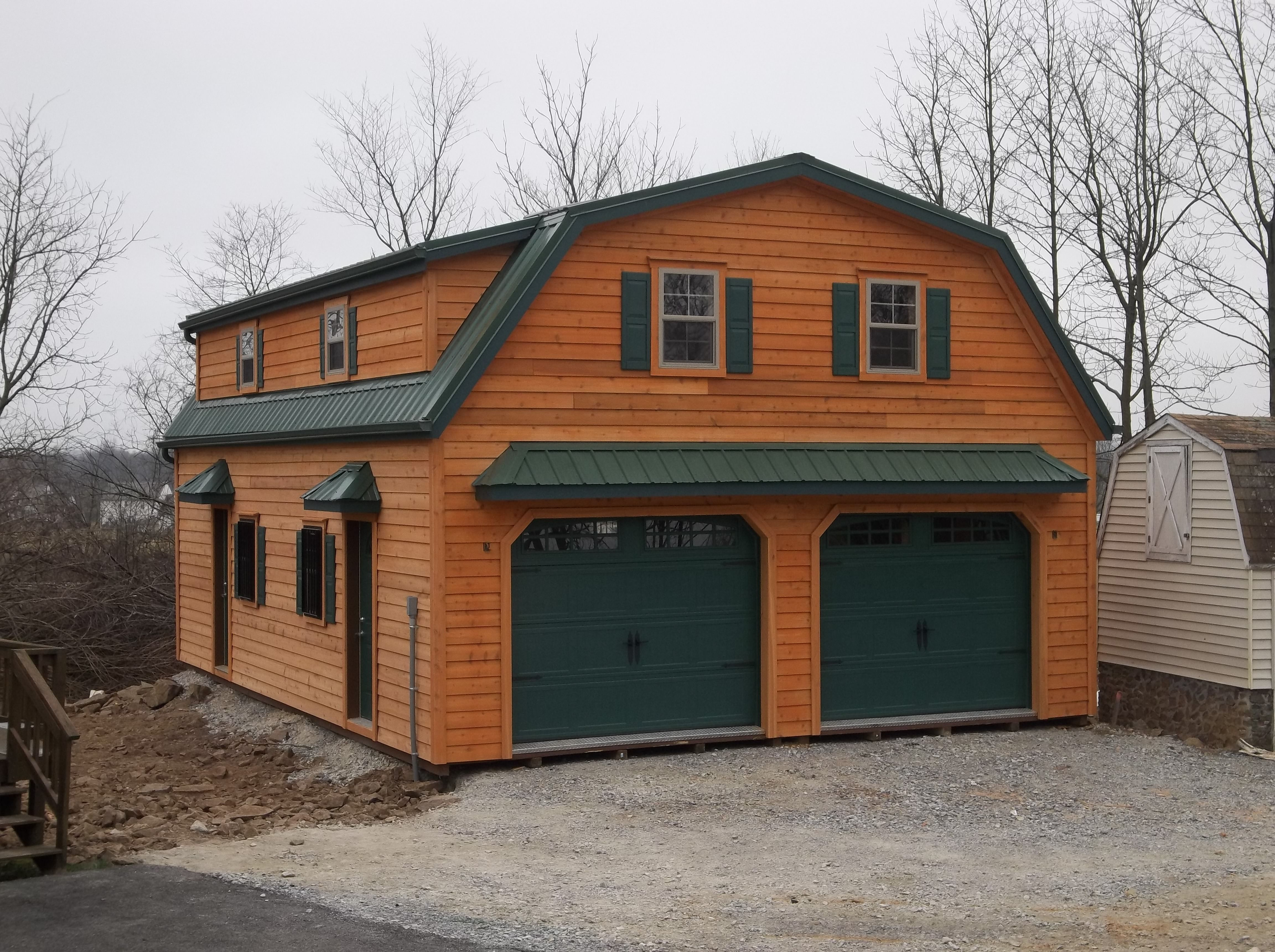 custom 2 story garage with gambrel roof aframe cabins order two story garages from stoltzfus structures our a frame gambrel roof plans are high quality affordable perfect for vehicles storage more