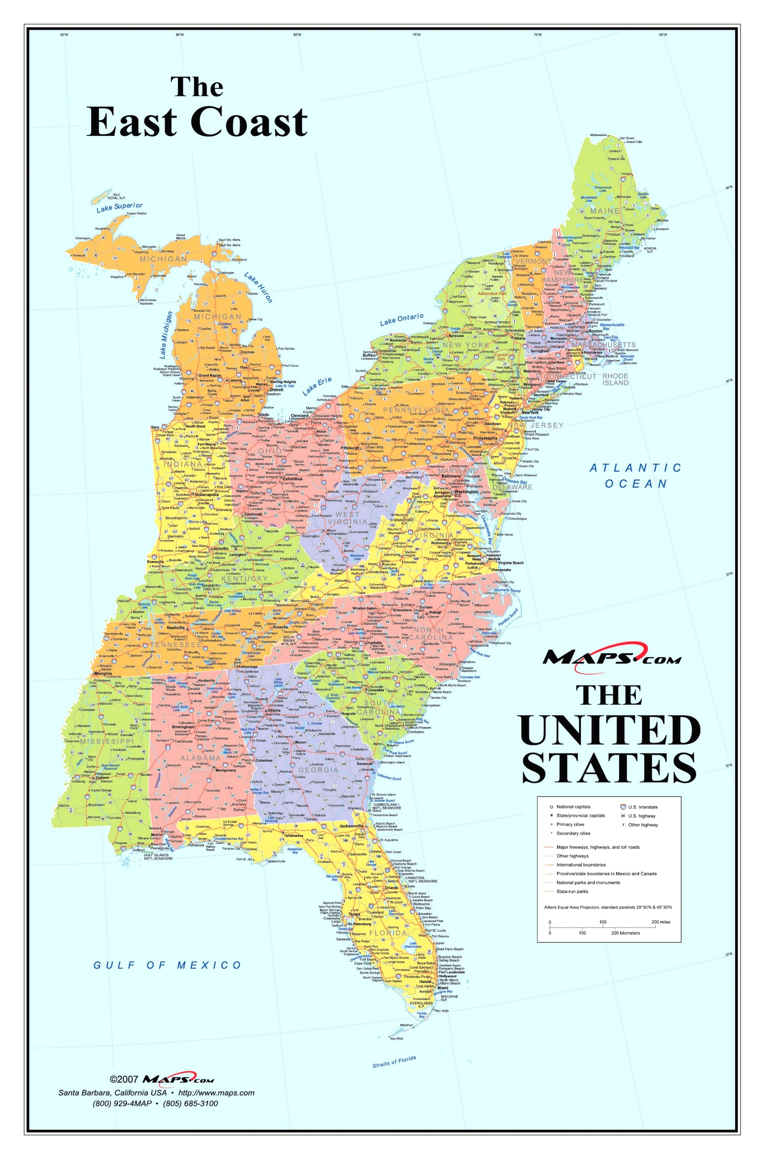 East Coast Map Of United States