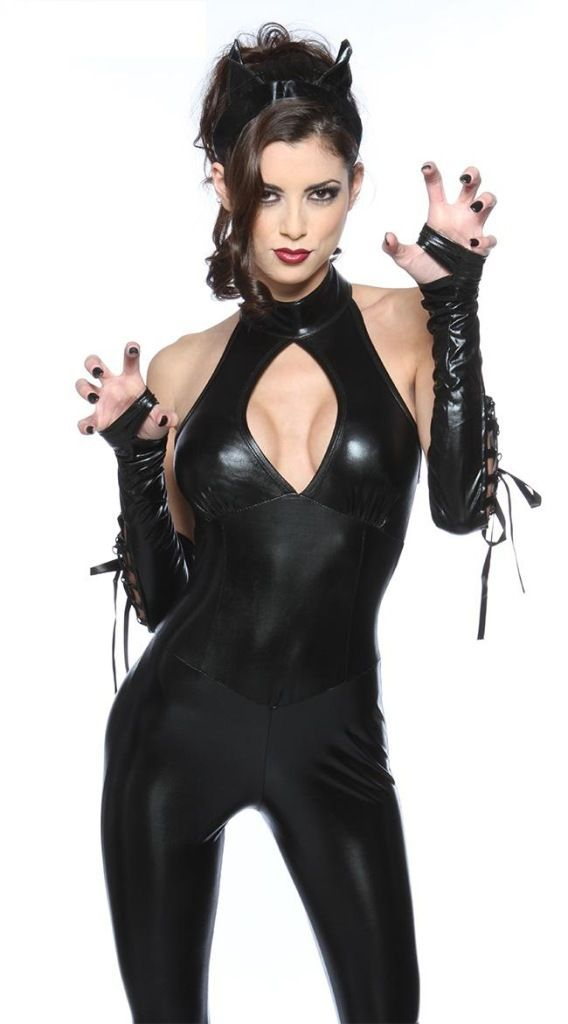 4c712cef17 Sexy Leotard Halloween PVC Erotic Cat Costume Lingerie Catsuit Costumes  Women Black Leather Dress Free Shipping(China (Mainland))