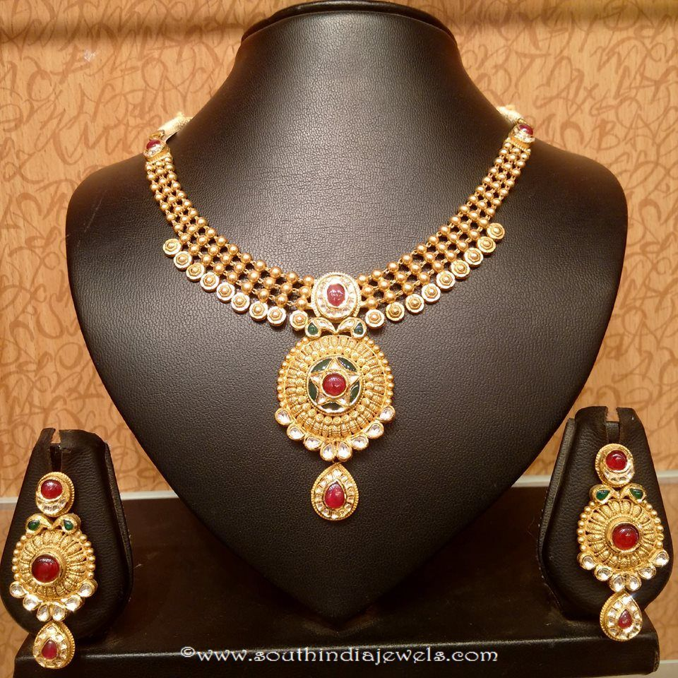 Light weight kundan necklace set from naj jewellery shiva pinterest