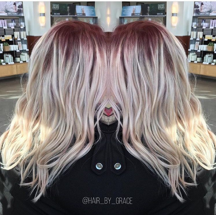 Red Shadow Root With Icy Blonde Shadowroot Blonde Red Red Roots Blonde Hair Blonde Hair With Roots Icy Blonde