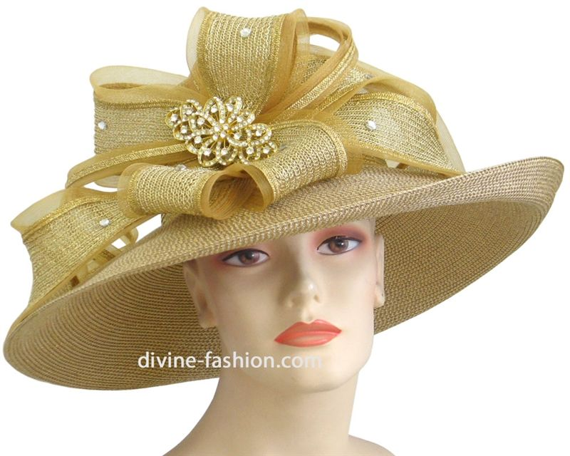 6956abdf Metallic Gold and Silver Church hats, womens hats, Ladies dress hat ...