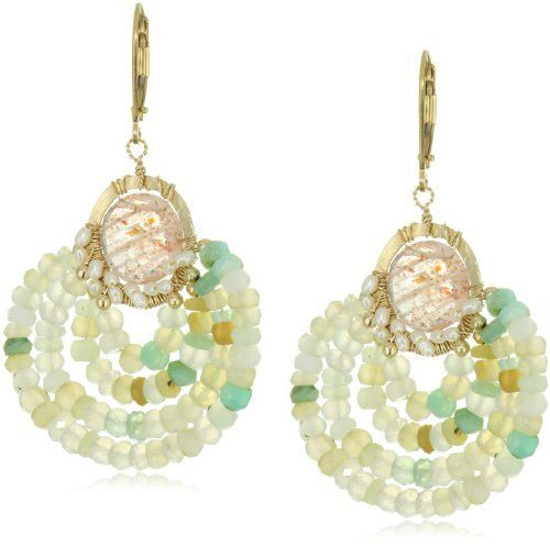 """Eva Hanusova """"Bohemian Fest"""" Sunstone Peruvian Opal Festive Earrings Eva Hanusova. $109.99. Avoid contact with chemicals and water. Natural stones. Made in United States. Color and shape may vary. Save 49%!"""