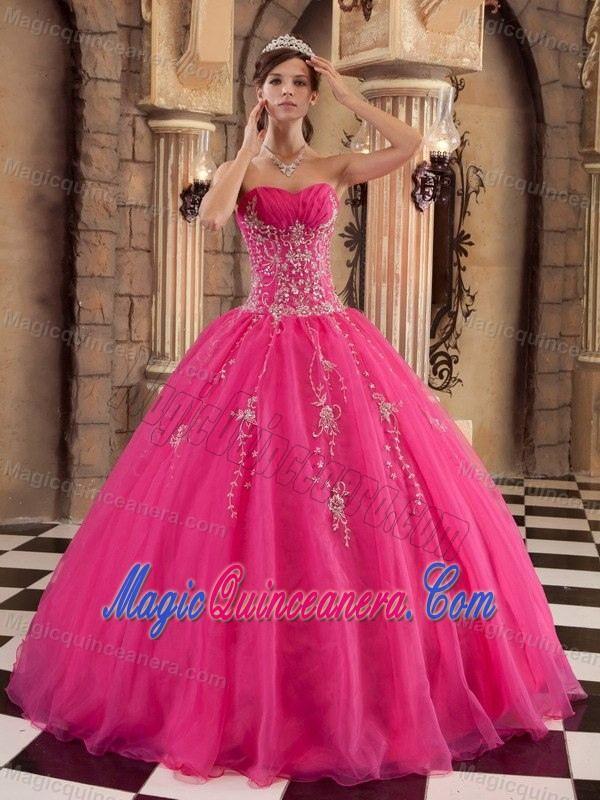 Hot Pink Strapless Beaded Organza Sweet 15 Dresses In Farnborough