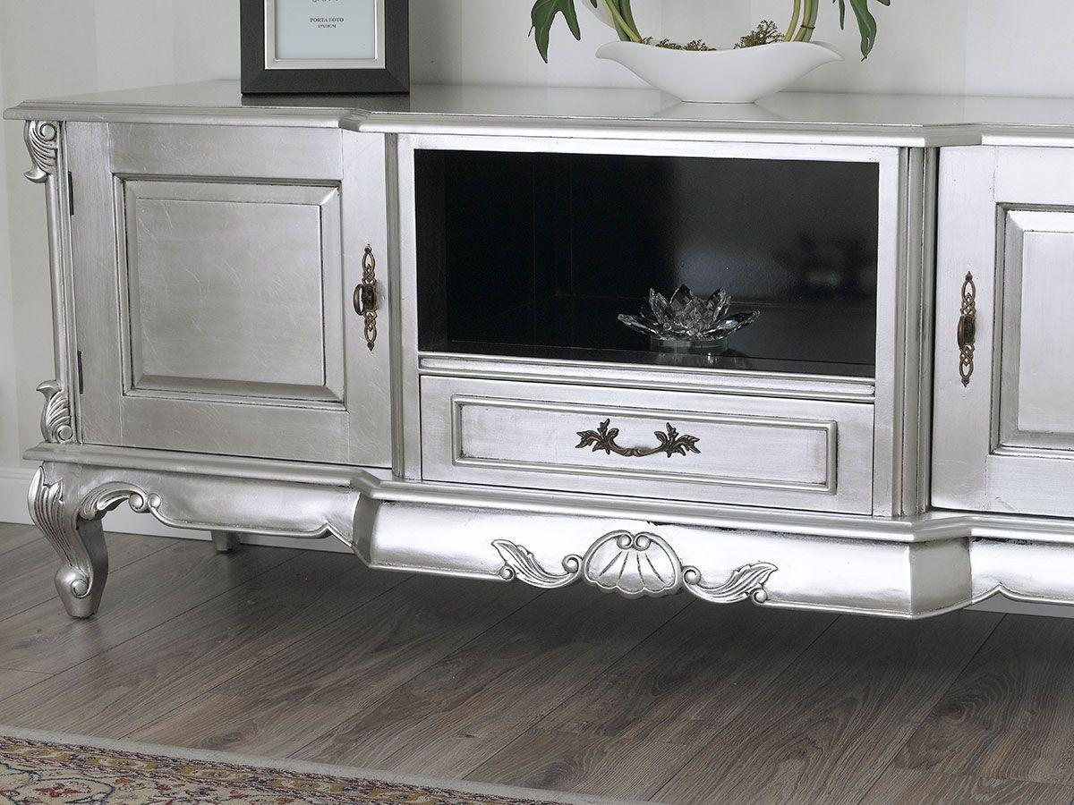 Porta Tv Barocco Moderno.Porta Tv Barocco Moderno Legno Massello Foglia Argento