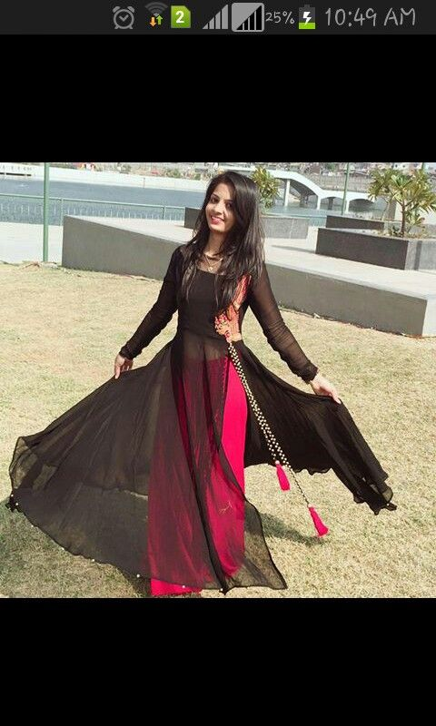 Long Black Kueta With Pink Skirt Fashion Kurti Designs Party Wear Clothes For Women