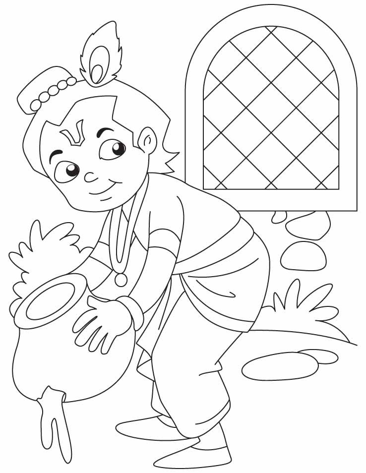 Baby Krishna the butter thief coloring