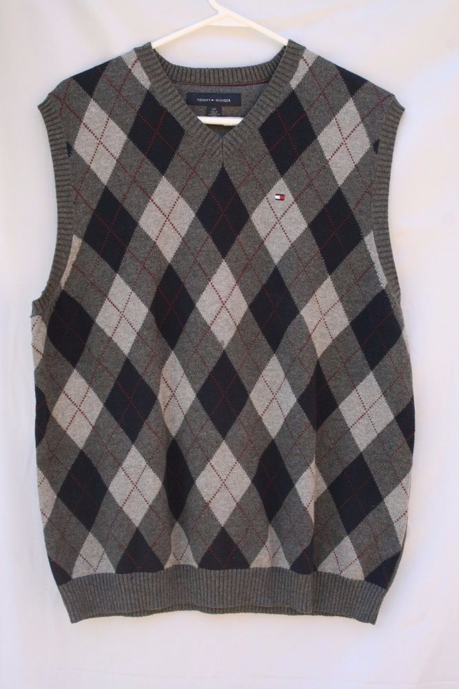 Tommy Hilfiger Men's Sweater Vest Sz L 100% Cotton Argyle Black ...