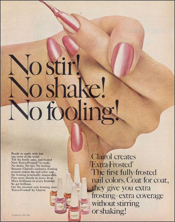 Clairol Nail Polish Vintage Ad 1966 Retro Nail Polish Ad Retro Ads To Frame Beauty Salon Art Cosmetics Wall Ar Vintage Ads Vintage Nails Vintage Makeup Ads