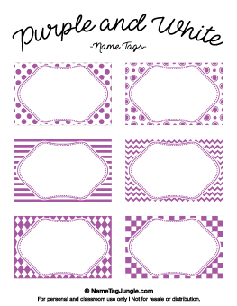 Purple And White Name Tags Etichette Pinterest Tag Templates - Name tag template microsoft word