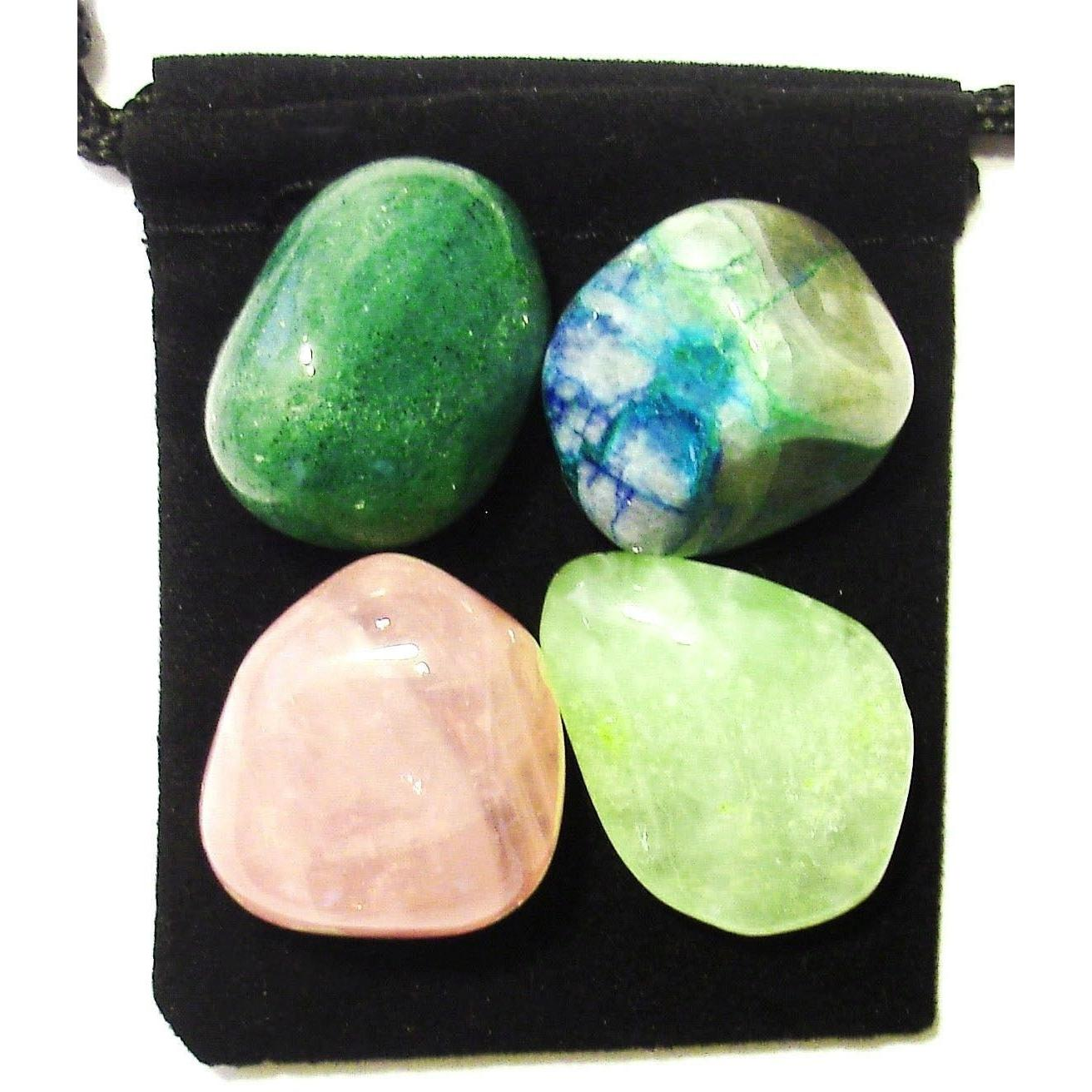 Pouch BLOOD VESSEL REPAIR Tumbled Crystal Healing Set = 4 Stones Card