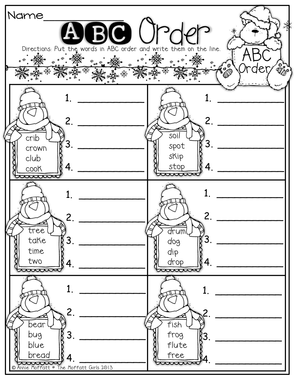 Printables Of Worksheets For First Grade Alphabetical