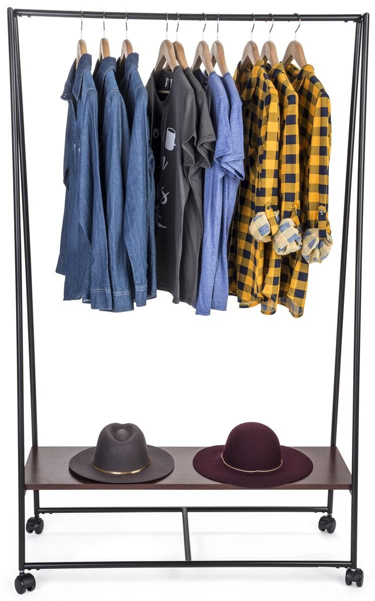 Metal teepee clothes rack with wooden shelf wheeled base black