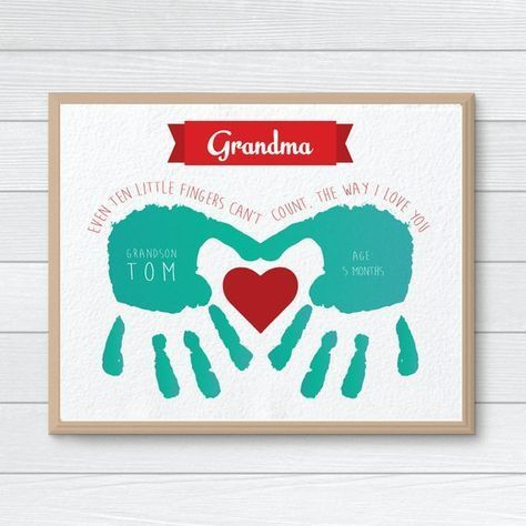 Personalized Gift for Mom, Grandmother, Nanny Gift, Handprint, Mothers Day Gift, Handprint Keepsake from Grandkids,Personalized Grandparents