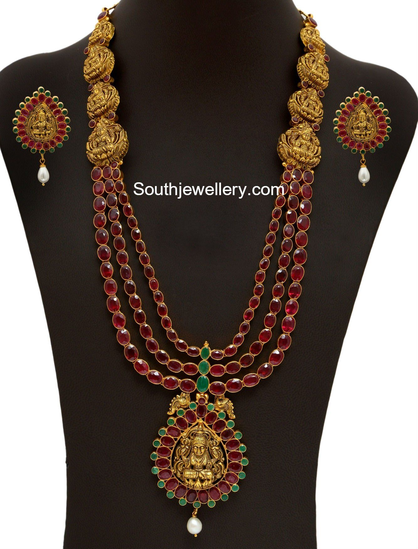22 carat gold floral designer pendant with multiple beads chain and - Jewellery Designs Page 10 Of 948 Latest Indian Jewellery Designs 2017 22 Carat Gold Jewellery