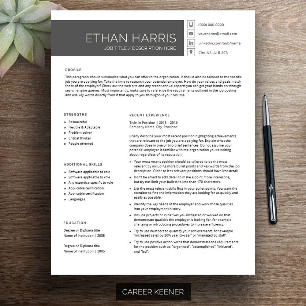 Professional Resume Template And Cover Letter Template For: Professional Resume Template For Word, Cover Letter