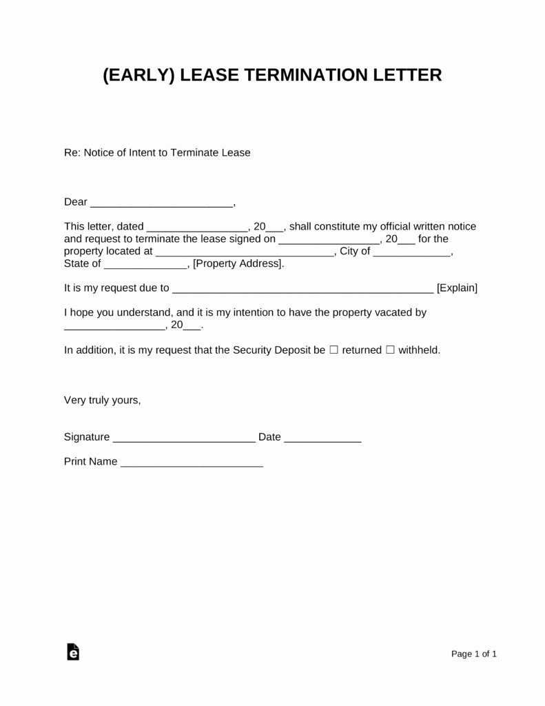 End Of Lease Letter Best Of Early Lease Termination Letter Landlord Tenant Being A Landlord Lease Agreement Lettering End of lease letter to tenant