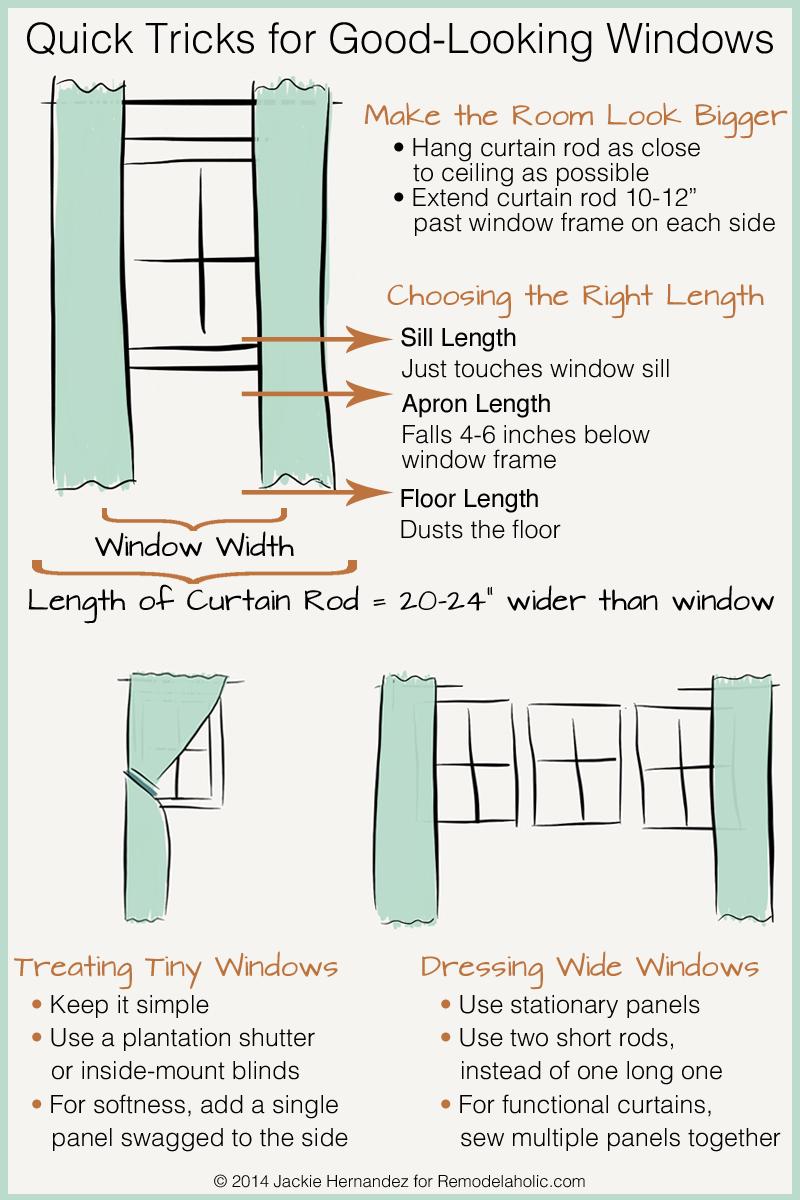 Good Idea To Get Rods Quite A Bit Longer Than Window Width, So Less Curtain