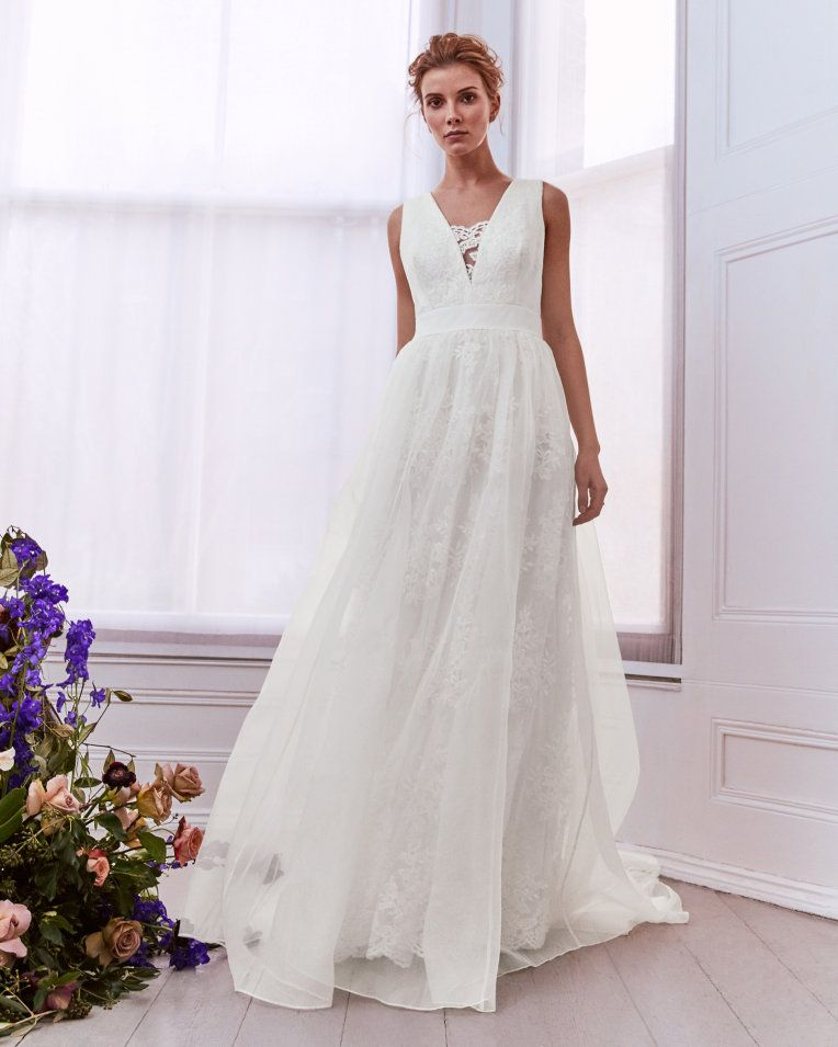 Embroidered lace trim maxi dress ivory tie the knot
