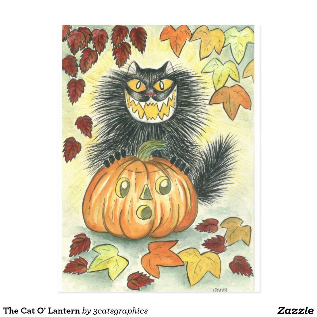 The Cat O' Lantern Postcard