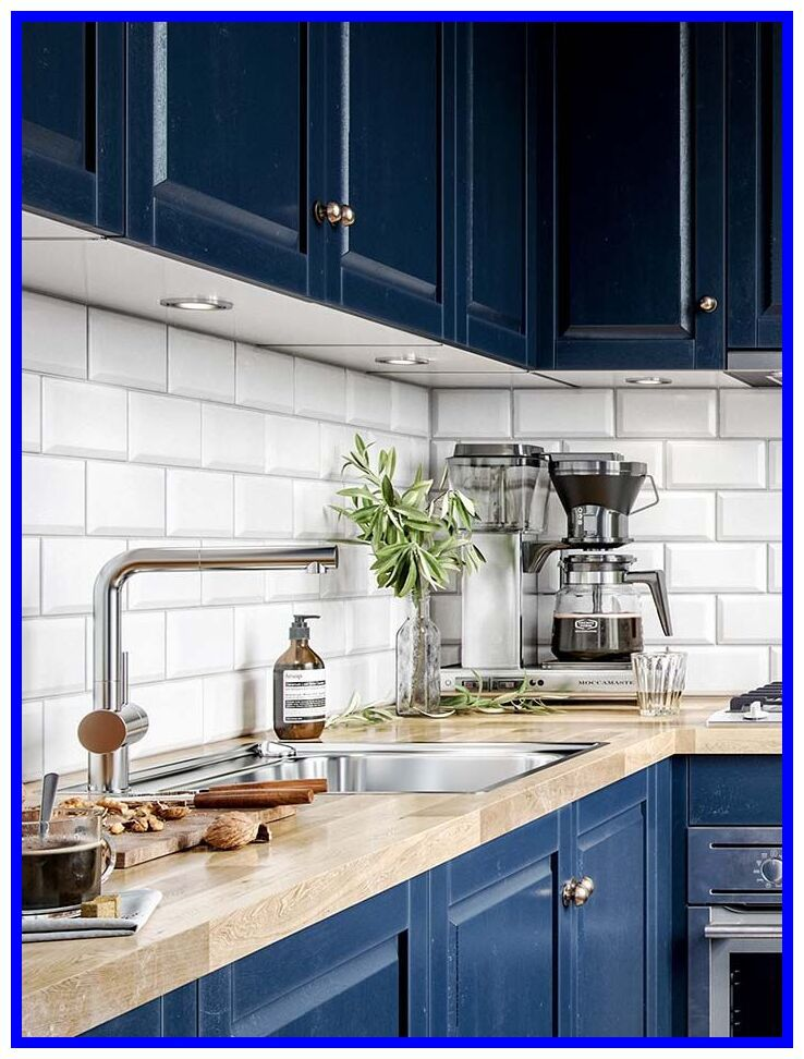 78 reference of blue kitchen with butcher block