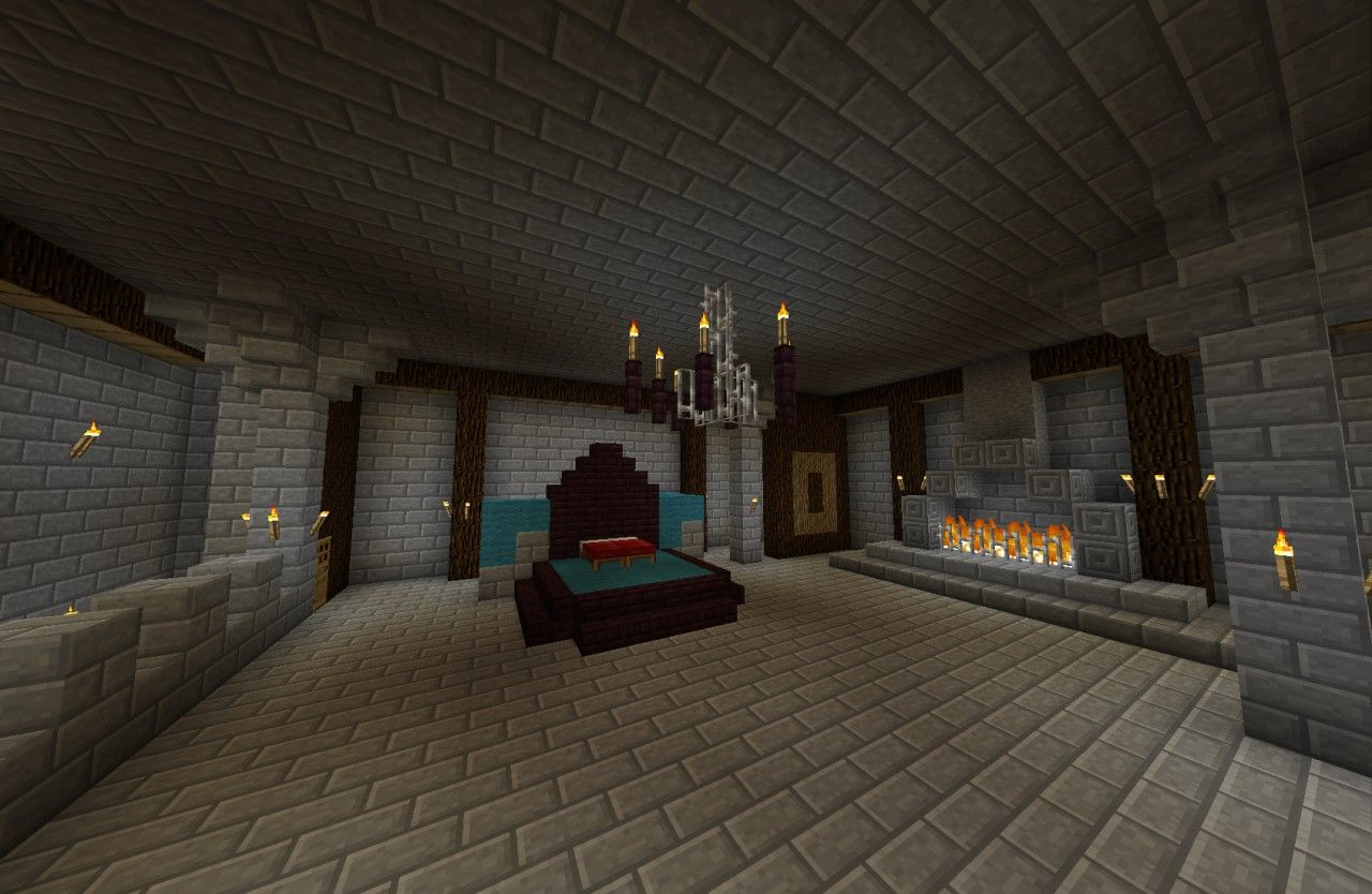Awesome And Inspiring Minecraft Bedrooms: Enchanting Castle Bedroom With  Stone Tiles On Floor And Walls