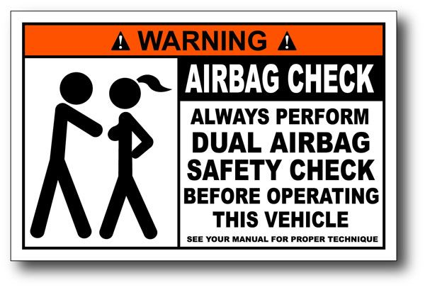 Airbag Check Funny Warning Sticker Decal Wrangler CJ YJ Motor - Funny motorcycle custom stickers decals