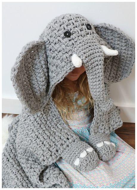 Hooded Elephant Blanket pattern by MJ's Off The Hook Designs #crochetelephantpattern