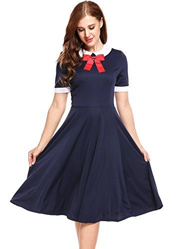 4b3771360ba ACEVOG Womens Short Sleeve Vintage A Line Peter Pan Collar Swing Pleated  Dress Navy Blue XLarge -- Find out more about the great product at the  image link.