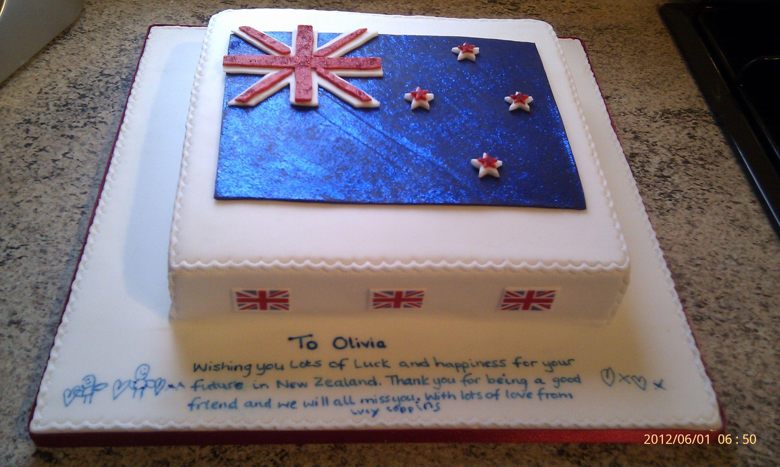 Emigration New Zealand Flag Cake Flag cake, Cake, New
