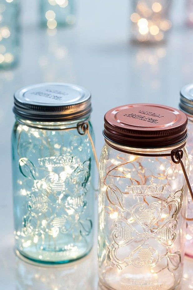 Tivoli LED String Light Decorative Jar in Light Blue and Light Pink