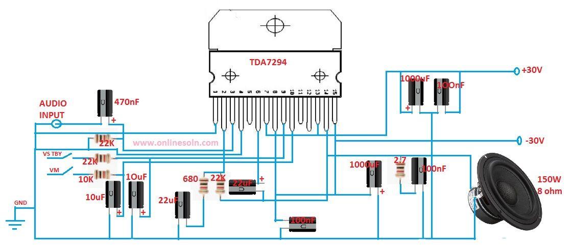 150 Watt Subwoofer Audio Amplifier Circuit diagram ...