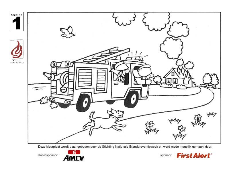 kleurplaat brandweer | kleuters: thema beroepen | Pinterest ...