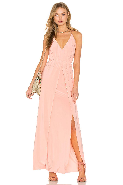 Misa los angeles nola double slit maxi dress in blush beachy maxi