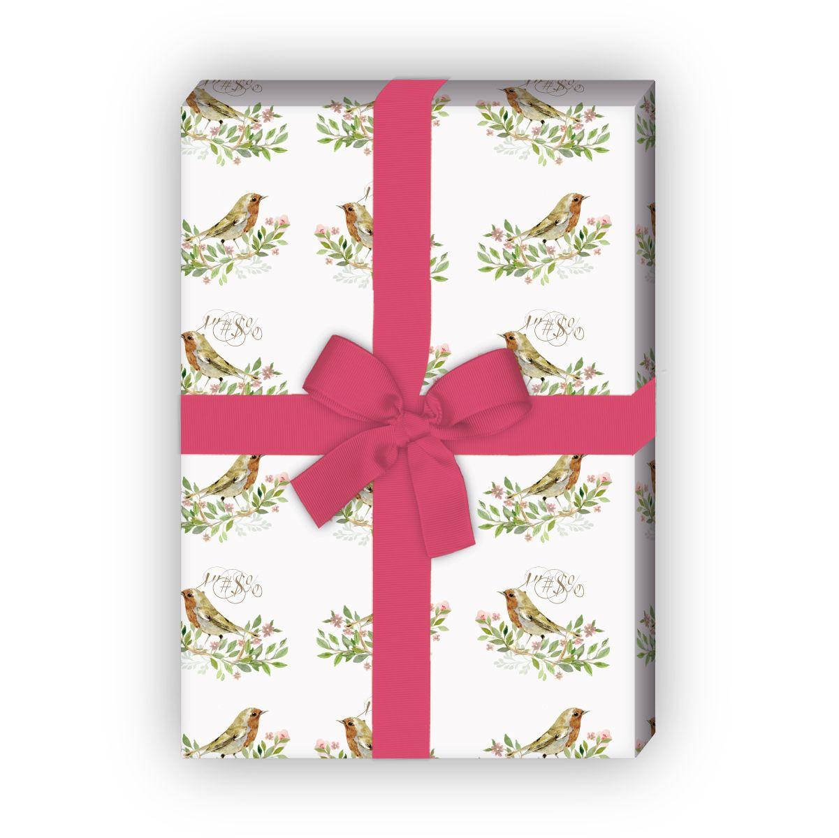 Klassisches Dankes Geschenkpapier mit Vö(4 Bogen, 32 x 48cm), in weiß 1