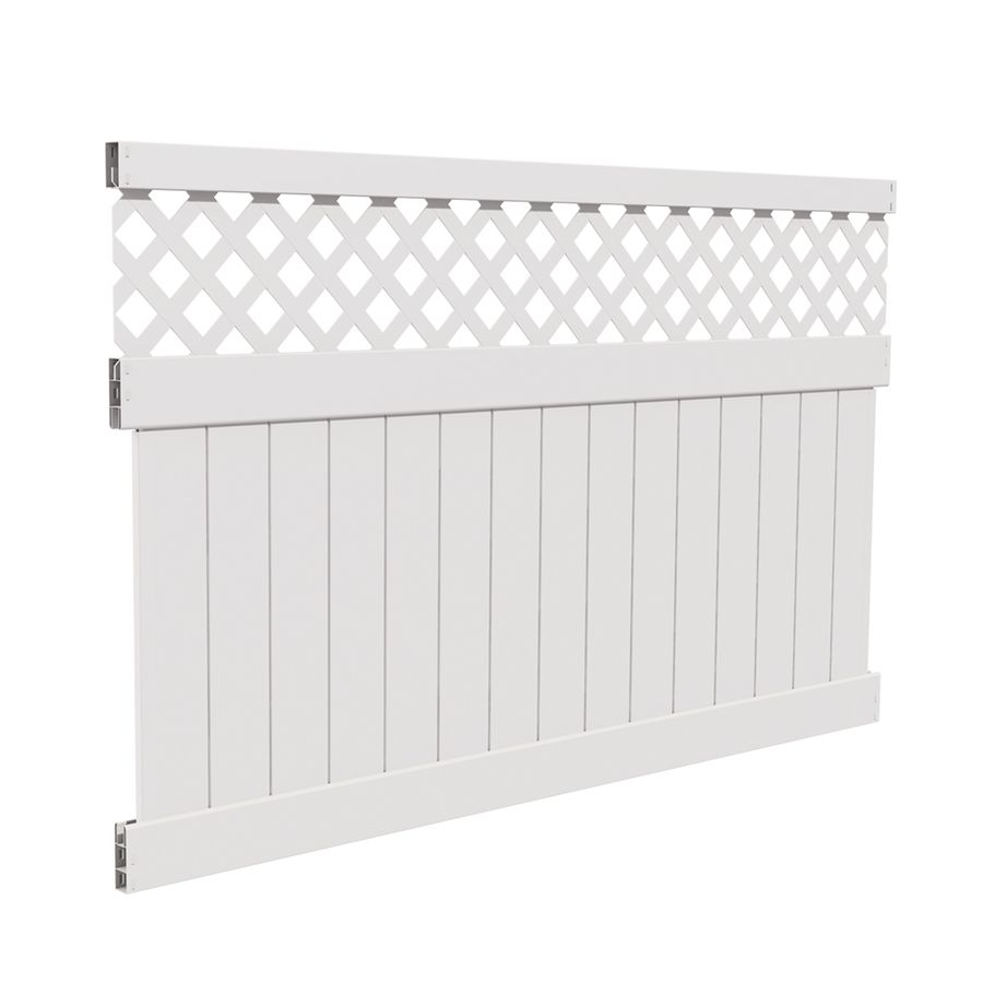 Freedom Ready To Assemble Conway 5 Ft H X 8 Ft W White Vinyl Lattice Top Vinyl Fence Panel Lowes Com Vinyl Fence Panels Vinyl Fence Fence Panels
