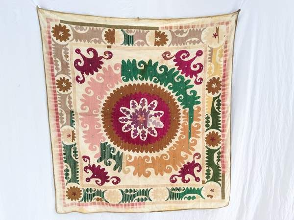 Vintage Uzbek Suzani Silk Embroidered Wall Hanging #embroideryfloss