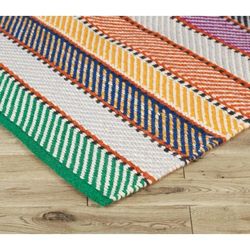 Django Multi Coloured Striped Woven Wool Rug 140 X 200cm Buy Now At Habitat Uk Wool Rug Rugs Striped Rug