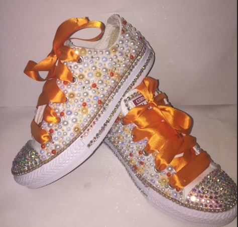 ae617c029cef Bedazzled bling all star chuck taylors converse. Orange and white.  Rhinestone and pearl chucks.