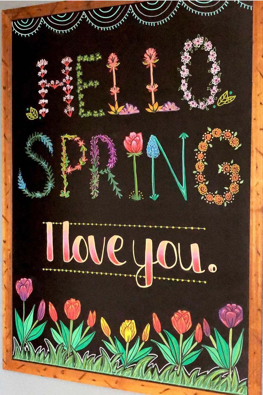 Stunning Spring Chalkboard Art