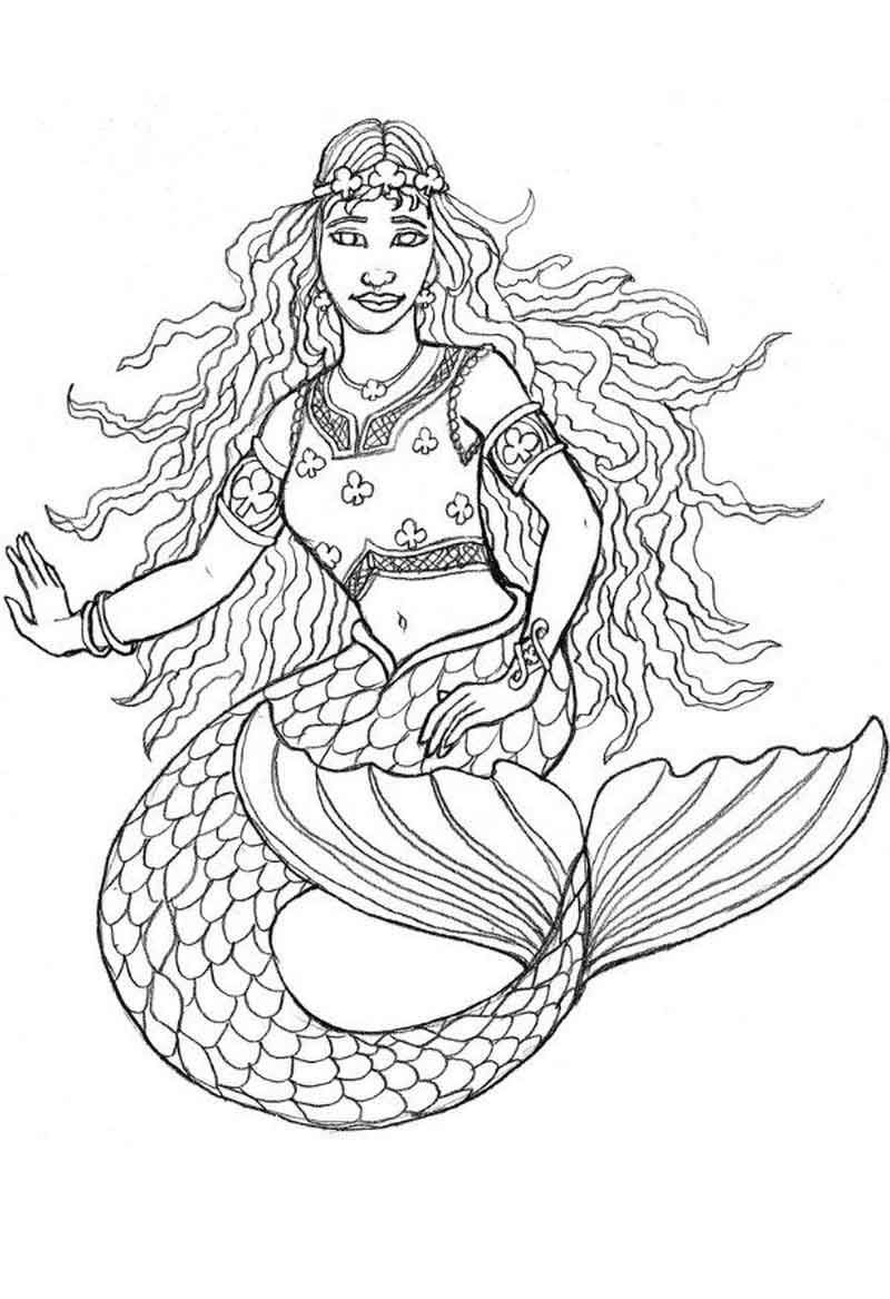 Pretty Mermaid Coloring Pages Mermaid coloring pages