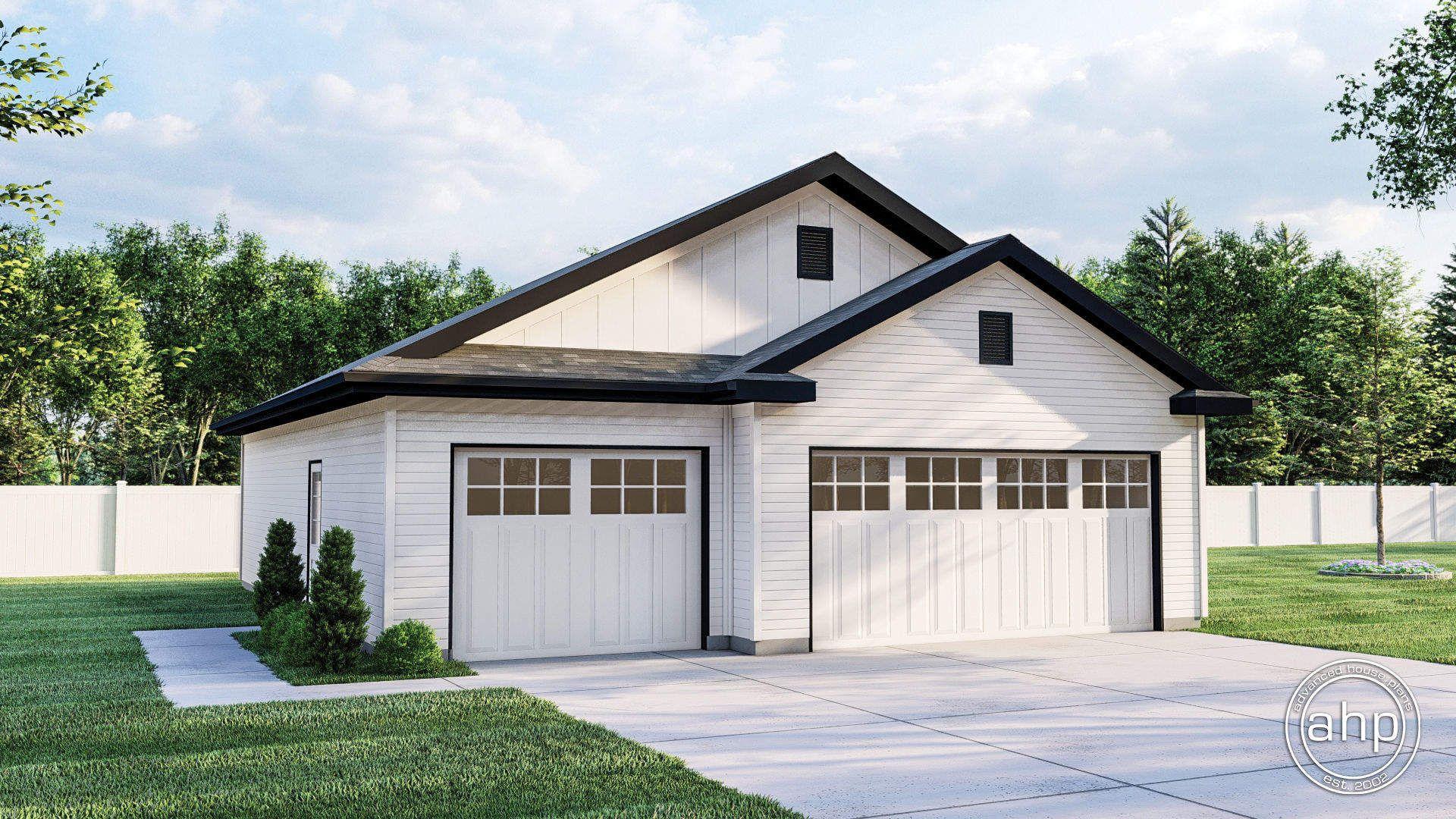 3 Car Garage Plan Randall In 2021 Backyard Garage Garage Exterior Garage Plans Detached