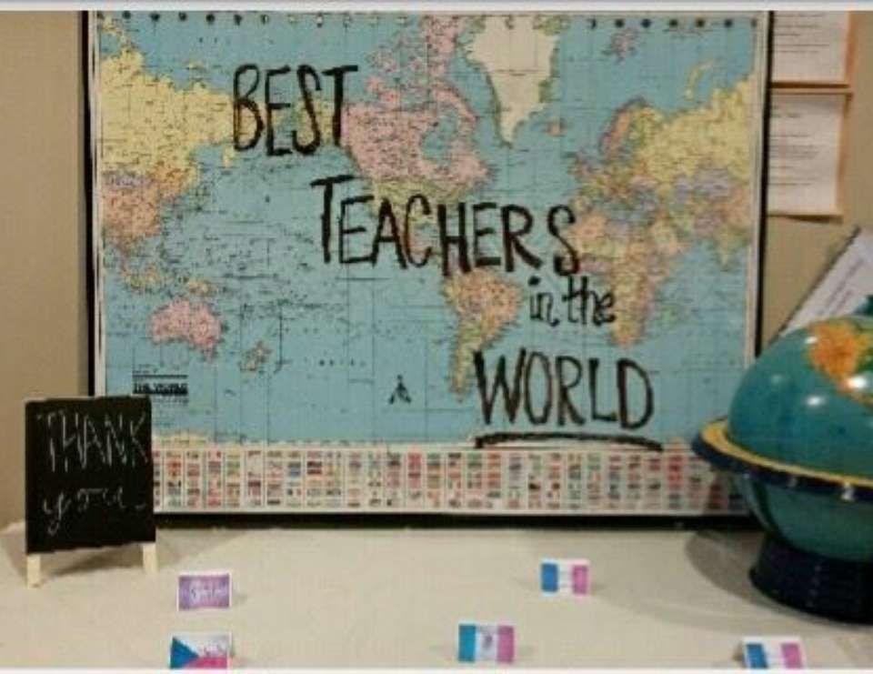 Around The World Teacher Appreciation Best Teachers In The World Catch My Party Teacher Appreciation Doors Teacher Appreciation Themes Teacher Appreciation Lunch