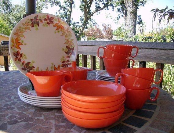 Vintage Melmac Rainboware Fall Motif Dinnerware - Set of Six & Vintage Melmac Rainboware Fall Motif Dinnerware - Set of Six ...