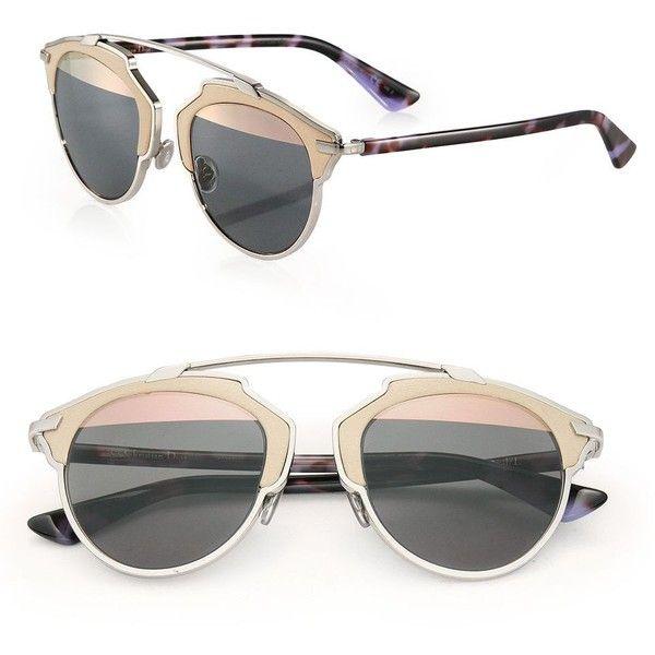 011ea62270 Dior So Real 48MM Leather-Trim Metal Sunglasses (41