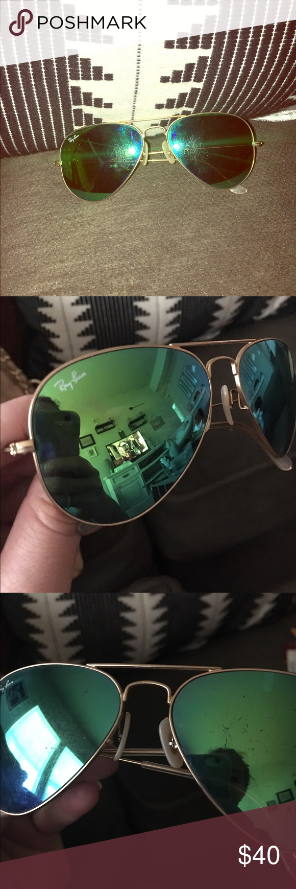 Ray Ban Aviators Authentic. Comes with original RayBan case. Does have minor scratching on the lenses. No flaws other than that. Priced to sell! Ray-Ban Accessories Sunglasses