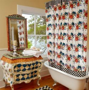 Rare Mackenzie Childs Flower Market Shower Curtain New Retired