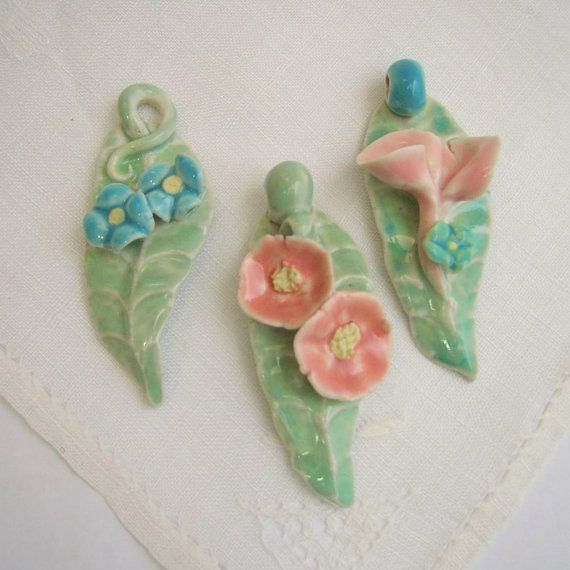 Summer Leaf and Flower Porcelain Pendants in by PorcelainJazz on Etsy.